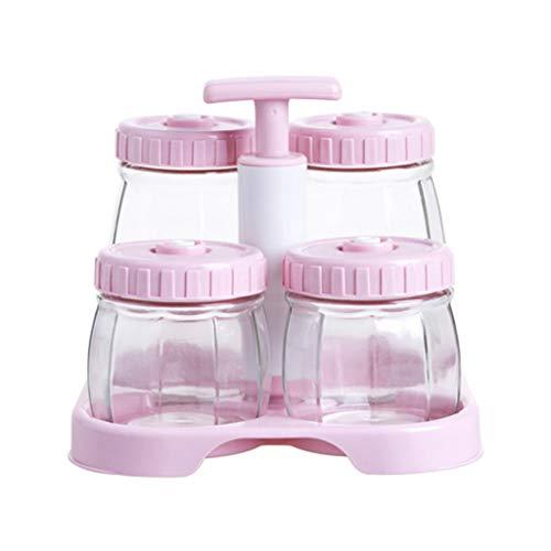 Box Aufbewahrungsbox FüR KüChe VorratsbehäLter FüR Lebensmittel Vakuum Transparentes Glas Versiegelt Dosen KüChentee/SüßIgkeiten Frisch Lagerung 4 SäTze - Staubdicht Und Feuchtigkeitsfest +