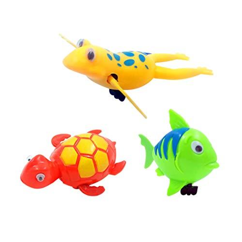 Toyvian 3 Piezas Bañera de Bebé Juguetes de Agua de Plástico de Dibujos Animados Divertida Cuerda de Tortuga de Rana de Cuerda para Niños Pequeños