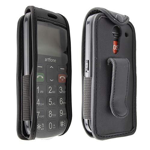 caseroxx Ledertasche mit Gürtelclip für Artfone CS181 aus Echtleder, Handyhülle für Gürtel (mit Sichtfenster aus schmutzabweisender Klarsichtfolie in schwarz)