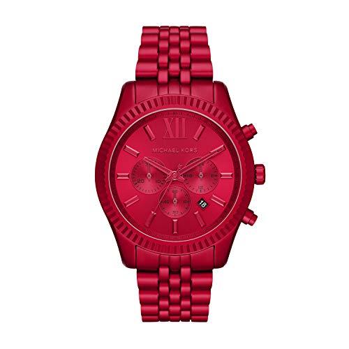 Michael Kors Men's Quartz Watch with Metal Strap, Red, 22 (Model: MK8814)