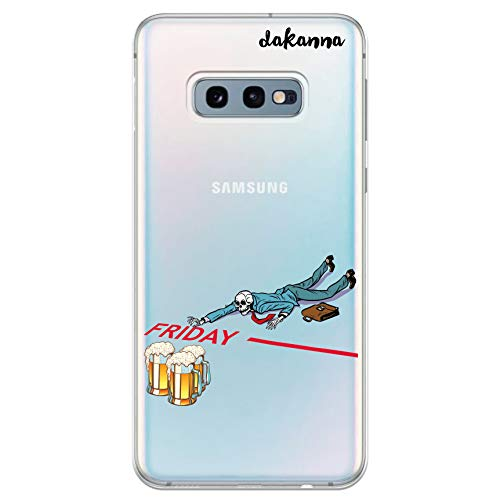 dakanna Custodia per [Samsung Galaxy S10e] Cranio con Birra e Frase Venerdì, Cover in Gel di Silicone TPU Morbido di Alta qualità con [Sfondo Trasparente]