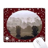 朝の霧の森の草原の太陽 オフィス用雪ゴムマウスパッド