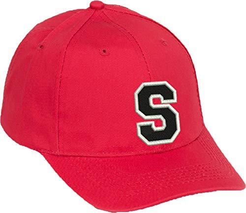 4sold Gorra de béisbol Informal de algodón con Letras del abecedario en Negro niño Adulto Color Rojo A-Z (Rojo S, niño)