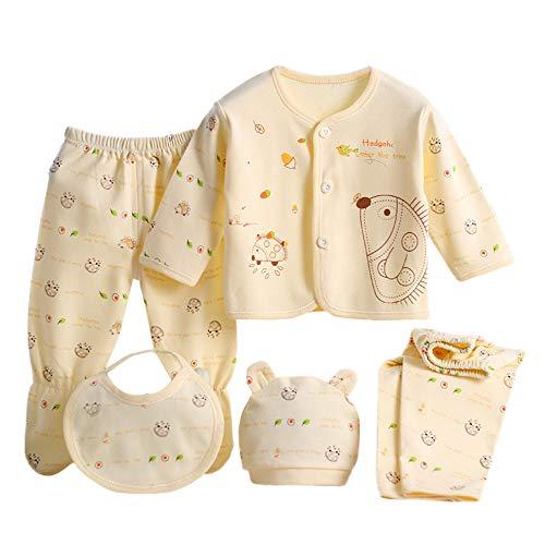 PPangUDing Babykleidung Neugeborene Baby Jungen Mädchen Kleidung Set, Langarm Cartoon Drucken Tops + 2pc Lange Hosen + Hüte + Lätzchen 5-Teiliges Kinder Unisex Kleidungs Set (0-3M,Gelb)