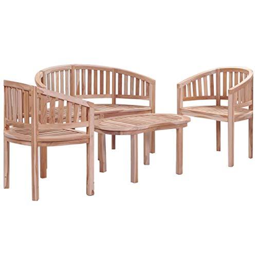 Festnight Garten-Lounge-Set 4-TLG. | Garten-Sofagarnitur | Holz Gartensofa-Set | Terrasse Gartenmöbel | Balkon Gartengarnitur Gartenset | Sitzgruppe Essgruppe Set | Massiv Teak