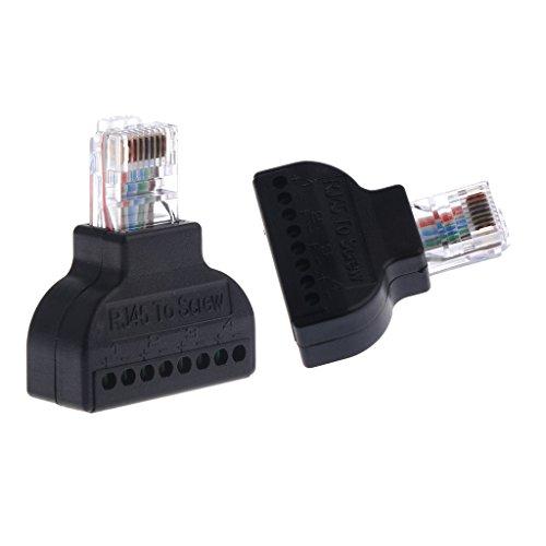 perfk 2X Ethernet Crossover RJ-45 Conector a Terminal Tornillo Adaptador