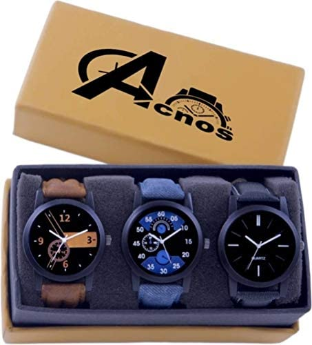 Acnos Analogue Men's Watch (Pack of 3) (Multicolored Dial Multicolored Colored Strap)
