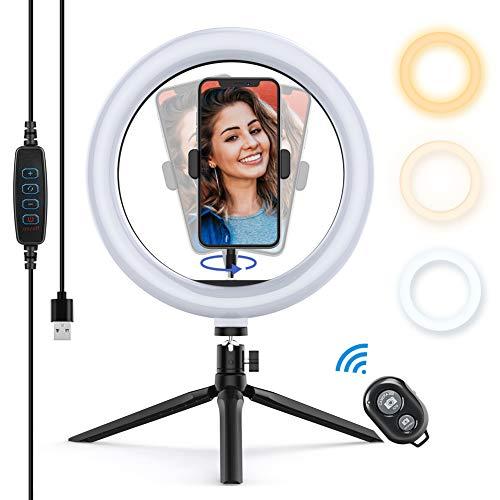 Yoozon Luce Tik Tok LED Anello Treppiedi,Ring Light con Telecomando Wireless per Smartphone,Foto,Youtube,Trucco,Lampada Anulare Regolabile con 3 Modalita` di Illuminazione e 10 Livelli di Luminosità