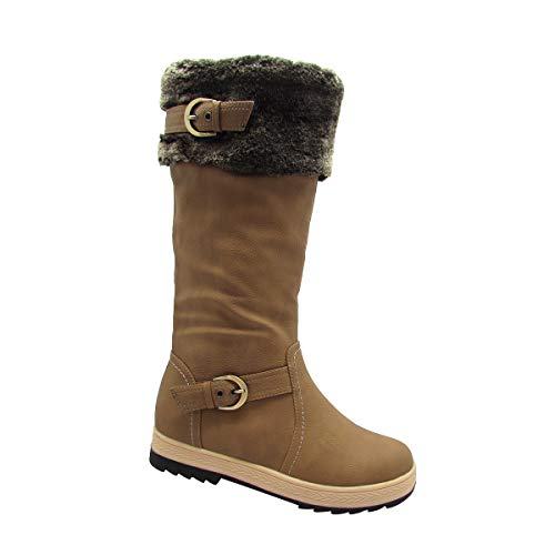 Stylish & Comfort Women's Knee High Zipper Up Winter Boots with Fur Lined Collar and Interior Warm Shoes (11, Tan)