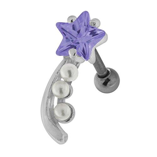 Lavendel Sterne CZ Stein Mit Perle Shooting Star Design 925 Sterling Silber 16 Gauge Tragus Piercing-Schmuck