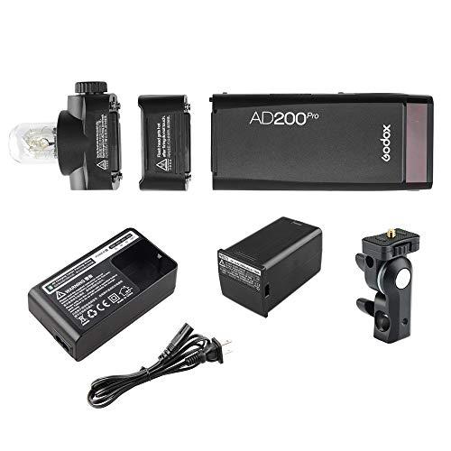 Godox AD200Pro カメラフラッシュ Godox 2.4GXワイヤレスシステム内蔵 ワイヤレスコントロール 精確な調光(1/1-1/256)|81レベル 2個のランプヘッド付属 1/8000秒HSS、前幕シンクロ 後幕シンクロ マルチストロボ フラッシュ露出補正 モデリングランプ 大容量バッテリー 持ち運び便利 色温度安定モード 200W Canon・Nikon・Sony・Olympus・Panasonic・Fujifilm・Pentaxカメラに対応