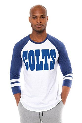 Ultra Game NFL Indianapolis Colts Mens Raglan Baseball 3/4 Long Sleeve Tee Shirt, White, Medium