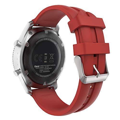 MoKo Cinturino in Silicone Compatibile con Galaxy Watch 3 45mm/Galaxy Watch 46mm/Gear S3 Frontier/Classic/Huawei Watch GT2 Pro/GT2e/GT 46mm/GT2 46mm/Ticwatch Pro 3, 22mm Braccialetto - ROSSO Scuro