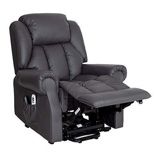 Hainworth Dual Motor riser recliner chair rise lift with heat and massage (Grey)