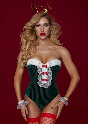 Z-DJJ Christmas Lingerie for Women, X-mas Corset Mrs Santa Claus Costume Sexy Corsets and Velvet Bustiers Lingerie Top with Fishnet Stocking (One Size)