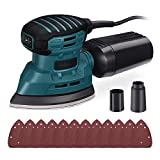 Mouse Detail Sander 12,000 OPM, 12Pcs Sandpapers, Electric Sander with Dust Collection System, Vacuum Cleaner Connecting Pipe, Ideal for Tight Spaces Home Decoration - PMS01AS