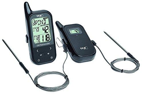 TFA Dostmann Küchen-Chef Twin Funk-Grill-Bratenthermometer mit Zwei Einstechfühlern und versch. Funktionen (schwarz mit Batterien)