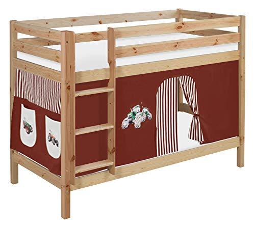 Lilokids Etagenbett Jelle TÜV und GS geprüft Trecker, Spielbett mit Vorhang und Lattenroste Kinderbett, Holz, braun/beige, 208 x 98 x 150 cm