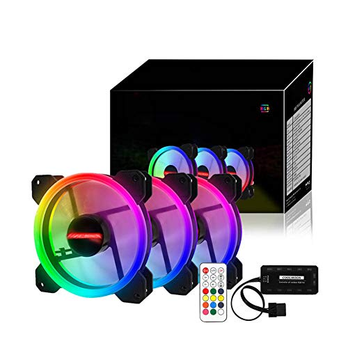 Raburt Ventilador RGB para PC de 12 V y 6 pines, 12 cm, con controlador, silencioso, para ordenador