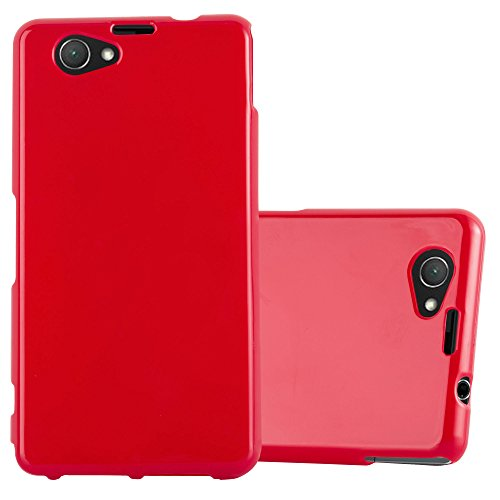 Cadorabo Hülle für Sony Xperia Z1 COMPACT - Hülle in Jelly ROT – Handyhülle aus TPU Silikon im Jelly Design - Silikonhülle Schutzhülle Ultra Slim Soft Back Cover Case Bumper