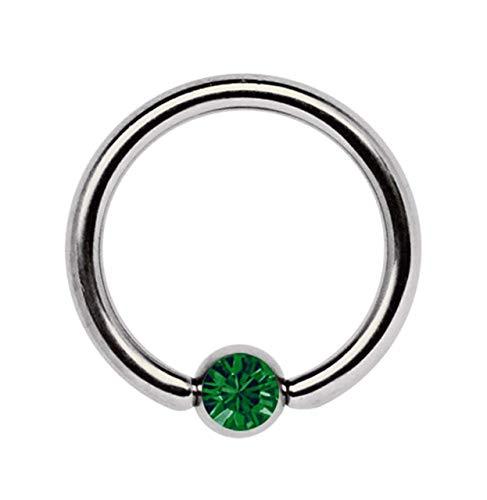 Piercing Íntimo, Piercing de Titanio Joyería Anillo Bcr 1,6 MM con Circonia Bola - Verde Oscuro