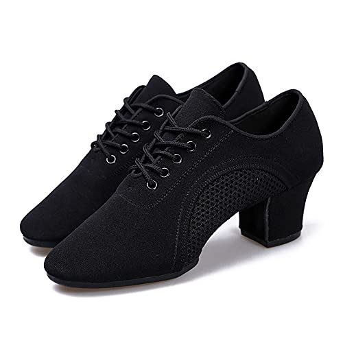 Qyoocom Dance Paladin Dance Shoes Femenino Adulto Maestra Middle Dance Zapatos Danza Zapatos Danza Latina Cuerpo Cuerpo Zapatos(39, Black)
