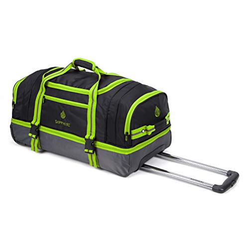 Green and Black Wheeled Trolley Holdall Lightweight Luggage Suitcase Duffle Bag Rolling Hold Travel Bag 22 Inches