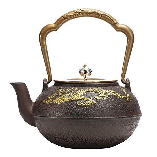 Teekanne Keramik Antiker Gusseisentee Gesunder Tetsubin Teekessel Reiner Kupferdeckel und Griff 1000ml