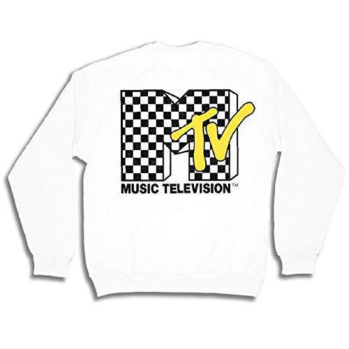 MTV 90s Classic Hoodie Sweatshirt - Mens Logo Iconic Crewneck Sweatshirt - I Want My Shirt (White, Medium)