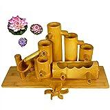 BTHDPP Fuente de Bambú con Bomba de Agua, Noria y 3 Lotos, Fuente de Agua de Jardín Característica de Agua de Bambú Bomba Oscilante Paisaje de Agua,40cm