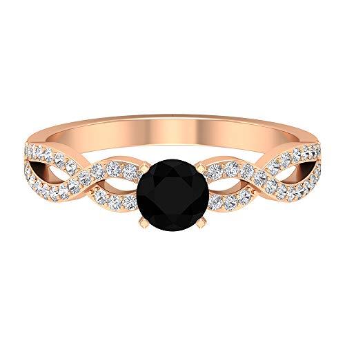 April Piedra de nacimiento — Solitario - Anillo de diamante negro de 5 mm con diamante, anillo de compromiso cruzado, anillo de piedra lateral, 18K Oro rosa, Size:EU 50