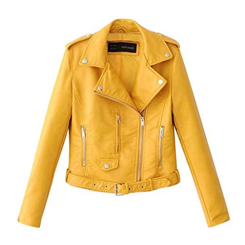 Why Should You Buy jin&Co Leather Jacket Women Lapel Zip Rivet Punk Moto Biker Jacket Cool Short C...