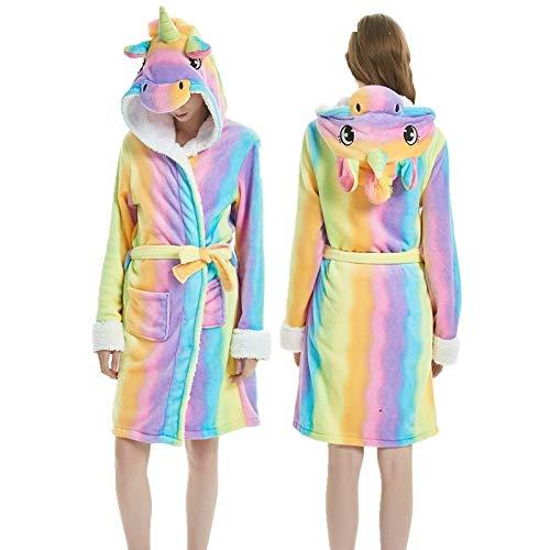 YPDM Nachthemd Erwachsene Winter Coral Velvet Hooded Unicorn Robe Frauen Flanell Bademantel Panda Stitch Tier Bademäntel Männer Lange Bademäntel, Tigger, M