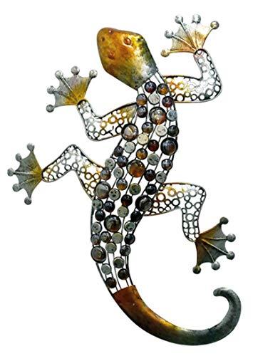 E-X Wandhänger Gecko 62,5 cm Wandschmuck Metall/Glas Fassadendeko
