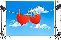 新しい7×5フィートバレンタインデービニール写真撮影の背景愛ハートブルースカイホワイトウード装飾カスタマイズされた写真背景スタジオプロップVD576
