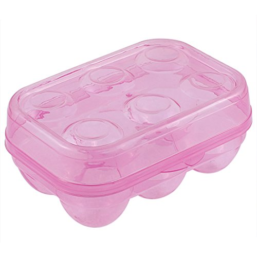 uxcell Plastic Picnic Camping Folding 6 Egg Holder Storage Box Clear Fushia