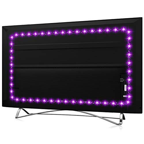 TV LED Backlight for 32-60 Inch, Hamlite 8.2ft USB LED Strip Lights W-Shape Easy-Curve Design, Syn on/Off with TV, 16 Colors Changing TV Back Lights Bias Lighting, Under TV Stand, Soundbar, PC