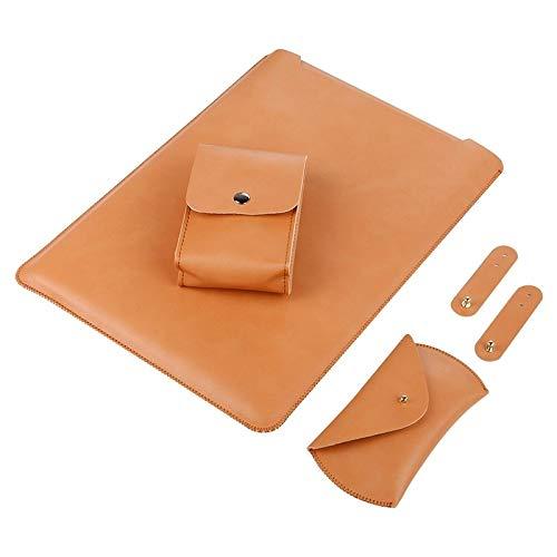 Sac d'ordinateur Portable LMY 4 en 1 Sac for Ordinateur Portable en Cuir intérieur en Microfibre + Power Sac + Souris Sac de Rangement + 2 enrouleurs for MacBook 12 Pouces (Noir) (Couleur : Brown)