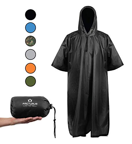 Arcturus Rain Poncho: Lightweight Ripstop Nylon Poncho with Adjustable Hood. Multipurpose, Large, Waterproof Design - Makes a Great Tarp, Backpacking Ground Cloth & Emergency Shelter (Black)