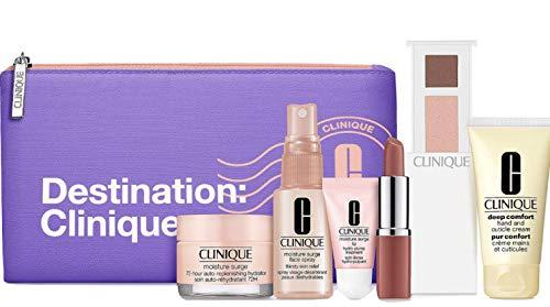 Clinique 2020 Skincare Makeup 7 Pcs Travel size Gift Set with Destination bag