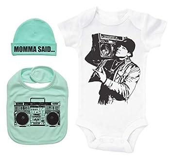 Hip Hop Baby Bundle White SS Onesie W/Hat & Bib/LL Cool J/Unisex Gift Set  Mint 3-6M