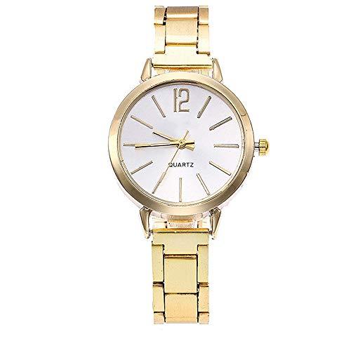 Armbanduhr Damen Ronamick Beiläufige Quarz Edelstahl Band Marmorbanduhr analoge ArmbanduhrUhr Uhren Damenuhren (Gold)