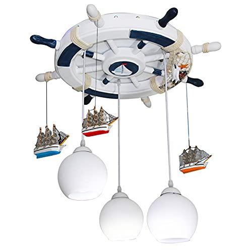 Zenghh Luz de techo Cabina mediterránea Bulkhead Down Deck Lamp Lámpara Pirate Sailor Navy Vining Wheel Rudder Helm TurnTable TurnTable Lámpara con Linterna de vidrio Modelo de nave para vivero Hostel