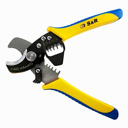 S&R Elektro-Kabelschneider Kupferkabel/Entmanteler 170 mm, Kabelschere bis 11 mm, Abisolierer AWG 14,12,10, 8 Cutter, Abisolierwerkzeug
