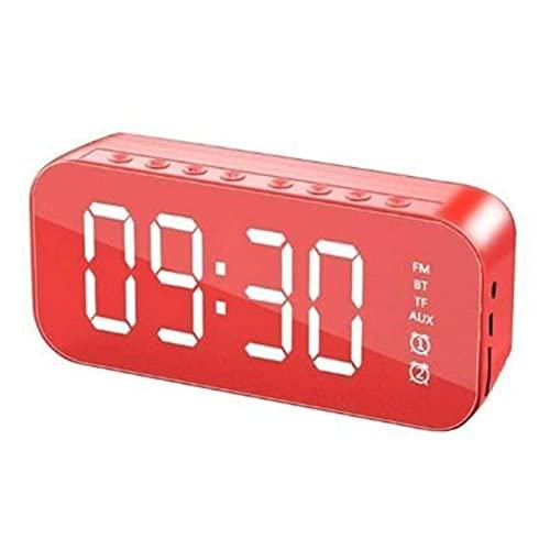 ywzhushengmaoyi Altoparlante Altoparlante Bluetooth Wireless con FM. Mini Scheda Specchio Sveglia Speaker Stalles Collection Collection Voice Prompt Altoparlanti Bluetooth (Color : Red)