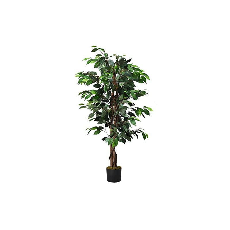 silk flower arrangements goplus artificial ficus silk tree, fake plant in pot for home and office decor