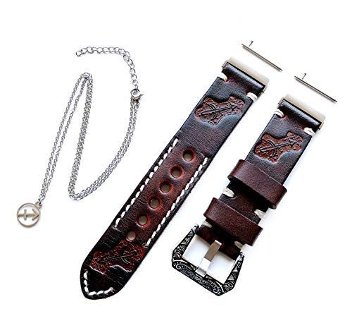 """NICKSTON Sagittarius Zodiac Set Genuine Brown Leather Crafted Tooled Embossed Band Strap Compatible with Fitbit Versa and 25\"""" Inch Pendant Necklace (5. Rose Gold Color Buckle)"""