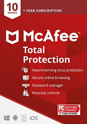 McAfee Total Protection 2021 10 Device Antivirus Internet Security Software Password Manager product image
