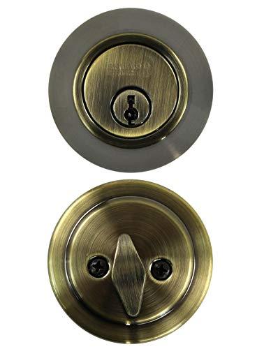 Shield Security Single Cylinder Deadbolt Antique Brass Finish
