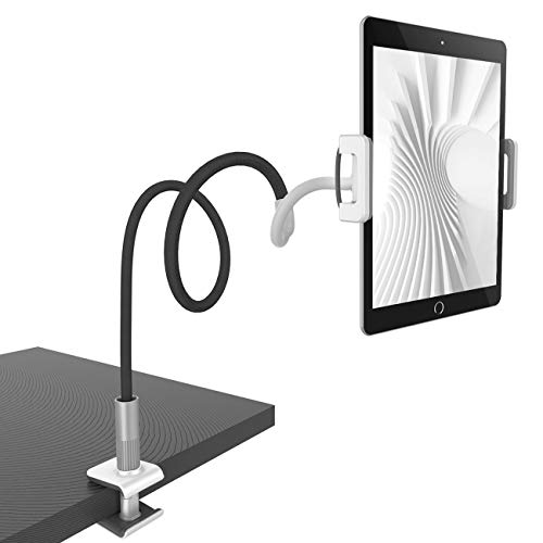 Lamicall Gooseneck Tablet Holder, Universal Tablet Stand - 360 Flexible Lazy Arm Holder Clamp Mount Bracket Bed for 4.7~10.5' iPad Air Pro mini, Samsung Tab, iPhone, Switch, more Devices - Black